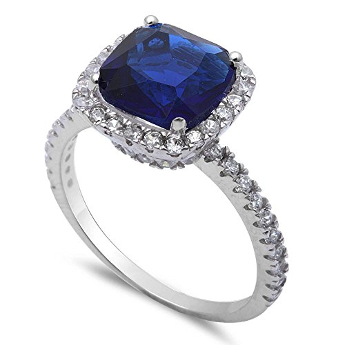 (Oxford Diamond Co 3CT Cushion Cut Simulated Blue Sapphire & Cz .925 Sterling Silver Ring Size 4 )