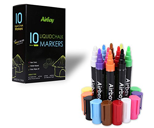 Liquid Chalk Markers 10 Colored - Airbay Washable Chalkboard Window Pens Amazing Neon Color Pens Reversible Bullet And Chisel Tip ,Brand New Revolutionary Cap Square Purple Vinyl
