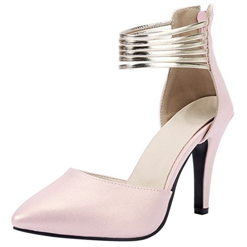 Women TAOFFEN Pointed High Pink Heel Toe Ankle Party Sandals Zipper Strap Fashion Pumps rrwEFd