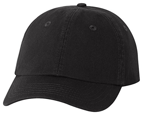 Chino Twill Hat (Valucap Youth Bio-Washed Unstructured Cap, Black, ADJ)
