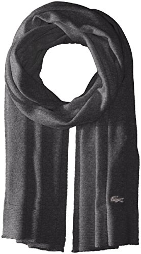 Lacoste Women's solid Fine Jersey Cashmere Scarf, Scarab black Chine, One Size by Lacoste