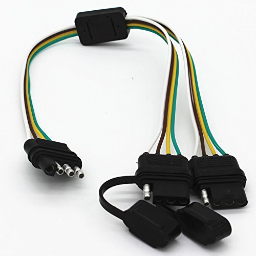 - Diking Male Flat 4 Pin Trailer Connector and 2 Female Flat 4 Pin Connectors- For LED Tailgate Light Bars