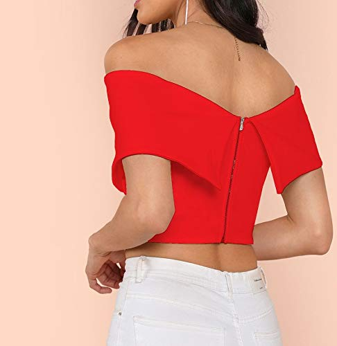 e2ac583b69b Digital Dress Red Cold Shoulder Flared Crop Top Smart Stylish Casual  Western wear for Women Girls Daily Wear Solid Plain Tube Tops Off Shoulder  Slim Fit ...