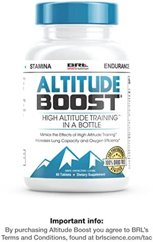 """ALTITUDE BOOST - #1 Endurance Supplement - """"Mimics the Effects of High Altitude Training"""" - Increases Lung Capacity and Oxygen Efficiency, 60 tablets"""