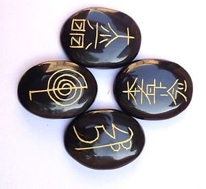 - CRYSTALMIRACLE Exclusive Usui Reiki Symbol Carved Black Agate Four Stones Set Wellness Gift Crystal Healing Metaphysical powerful Psychic Energy Meditation Health Wicca