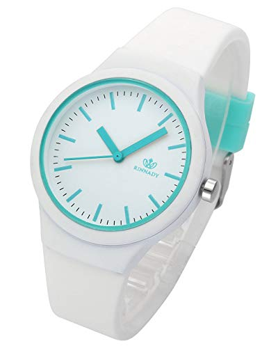 Top Plaza Womens Girls White Silicone Analog Quartz Wrsit Watches Fashion Casual Colorful Sport Jelly Watch]()