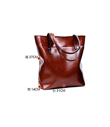 Cuero 6 viaje Ideal Genuina a Gran Genuino RFID Capacidad y Bloqueo bolsos Sucastle Hecho 4 de para Mano hombro trabajo Mujer Bx6vRRUqI