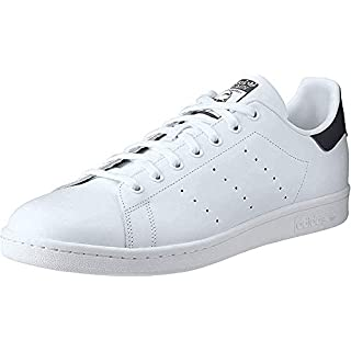 adidas Originals Men's Stan Smith Leather Sneaker, Core White/Core White/Dark Blue, 11