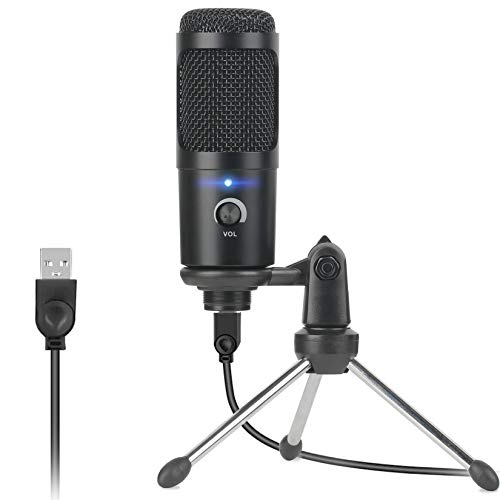USB Condenser Microphone for Computer, Studio Recording Microphone Kit, Professional 192kHz/24bit Cardioid Mic for PC Laptop Mac Windows for Gaming, Podcast, Skype, YouTube Video, Black