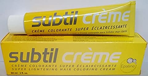 Subtil Creme Super Lightening - Super Lightening Hair Coloring Cream Enhanced With Epaline for Gentleness - Size: 2.0 Fl. Oz. Tube - Shade Selection: 9.0SE - Blond Tres/Tres Clair/Very Light - Clair Lightening