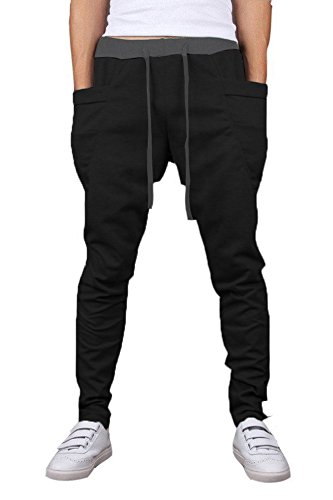 Mooncolour Mens New Arrival Casual Jogging Harem Pants, Black, Medium