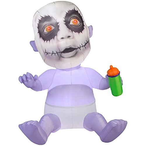 Gemmy Airblown Inflatable Animated Photorealistic Creepy Baby with Red Eyes Holding a Bottle - Holiday Decoration, 5.5-foot -
