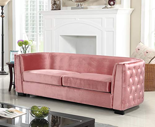 AN Saratov Sofa Velvet Upholstered Button Tufted Curved Shelter Arm Design Espresso Finished Wood Legs Modern Transitional Blush ()