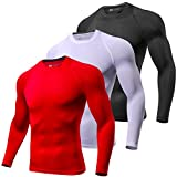 Lavento Men's Compression Shirts Baselayer Crewneck Long-Sleeve Dry Fit T-Shirts (3 Pack-Black/White/Red,X-Large)