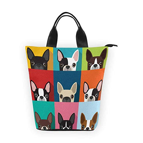 (InterestPrint Nylon Cylinder Lunch Bag Boston Terrier Tote Shopping Handbag)