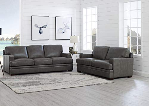 Hydeline Georgia 100% Leather 2PC Sofa Set, Sofa and Loveseat, Gray