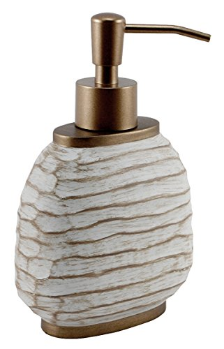 MCS Wastebasket Bathroom Accessories, Chiseled Texture Lotion Dispenser Pump, Cream with Bronze Finish