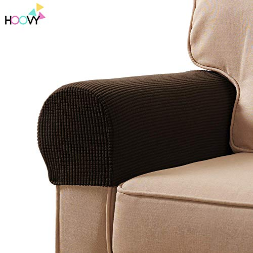 Hoovy Fabric Stretch Armrest Covers Non-Slip Slipcovers for Couches Sofa Set of 2 (Chocolate)