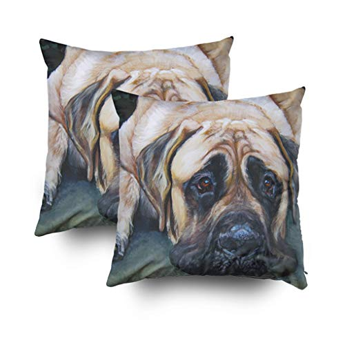 rican mastiff fine art painting Cushions Case Throw Pillow Cover For Sofa Home Decorative Pillowslip Gift Ideas Household Pillowcase Zippered Pillow Covers 16x16Inch ()