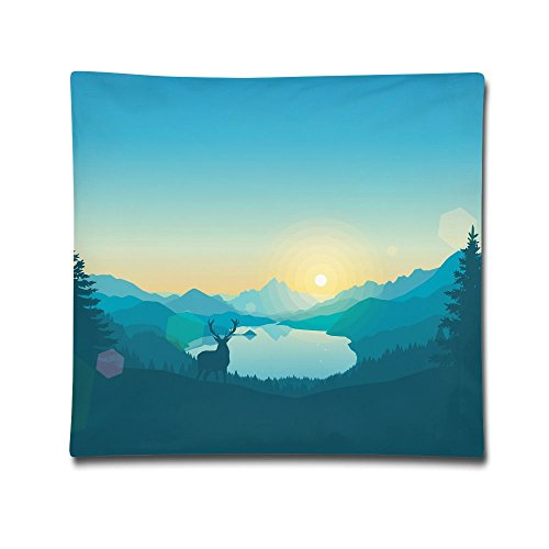 Kjaoi 1818 Inches Pillow Case Green Forest Deer Comfortable Soft Bed Pillow Case Household Pillow Case Office Bolster -