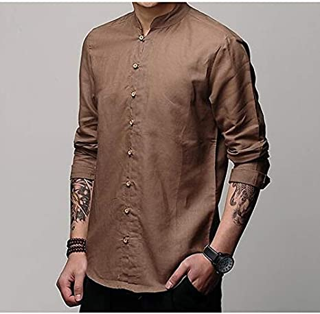 IYFBXl Camisa de algodón/Lino de los Hombres - Color sólido/Manga Corta, marrón, M: Amazon.es: Deportes y aire libre