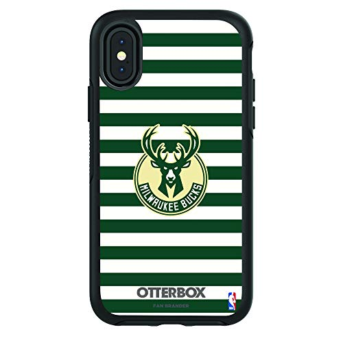 Fan Brander NBA Black Phone case with with Stripes Design, Compatible with Apple iPhone X and iPhone Xs with OtterBox Symmetry Series (Milwaukee Bucks)