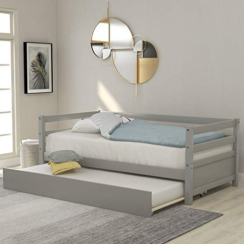 Daybed with Trundle, Rockjame Premium Twin Bed Frame with Strong Solid Wood Slat Support, Easy Assembly, No Box Spring Needed Gray