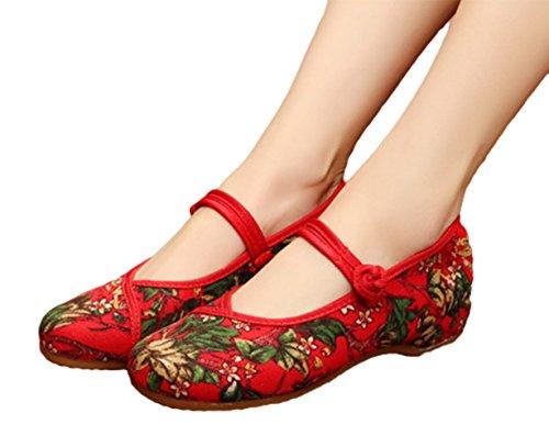 Dress Flower Womens Flats Mary AvaCostume Vintage Print Jane Red Shoes 5qxdtpw0pf