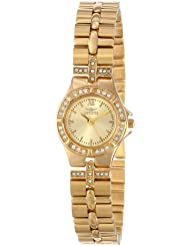Invicta Womens 0134 Wildflower Collection 18k Gold-Plated Crystal Accented Watch