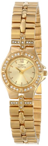 Gemstone Quartz Wrist Watch - Invicta Women's 0134 Wildflower Collection 18k Gold-Plated Crystal Accented Watch