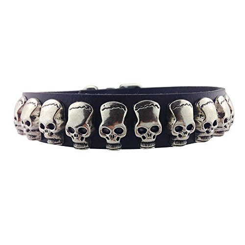 SLZZ PU Leather Dog Collar with Fashion Cool Skull / Adjustable Dog Collar for Small Medium Dogs / Black,L:width: 1'', adjustable length: - Dog Fashion Collar