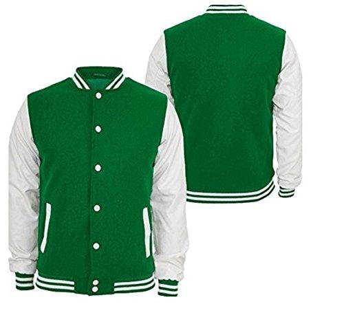 Original Windhound College Jacke hell grün mit weißen Echtleder Ärmel L