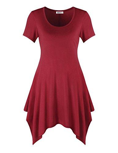 Elemevol Women Tunic Shirts, Flare Basic Tunic Dress Scoop Neck Short Sleeve Irrgular Hem A Line Jersey Party Mini Tunic Tops Red (Scoop Neck Jersey Knit Dress)