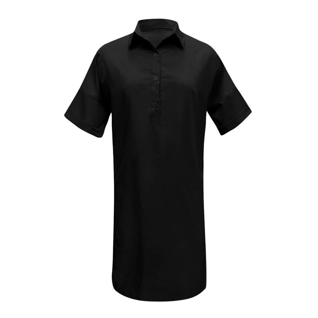 Nuewofally Shirt Dresses for Women Casual Solid Dress Button Open Cutout Sundress Fashion Vintage Dress Plus Size(Black,S)