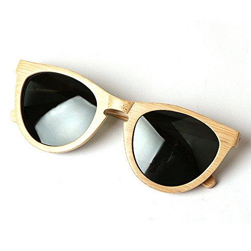 de de plage soleil les en chat UV cadre à yeux bois pour de soleil soleil bambou soleil lunettes lunettes Beige hommes Couleur lunettes Personnalité en la lunettes protection conduite Beige main de WpqInx74