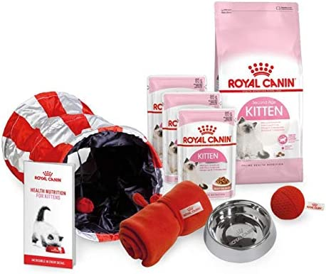 Royal Canin Kitten Poultry Chicken Beef Meat Starter Pack Gift Set Dry And Wet Food With Bowl And Blanket Plus Catnip Ball With Play Tunnel Plus Kitten Guide And Scratch Mat Favourite