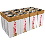 Tenergy 6LR61 9V Alkaline Battery, Non-rechargeable Battery for Smoke Alarms, Guitar Pickups, Microphones and More, 12-Pack
