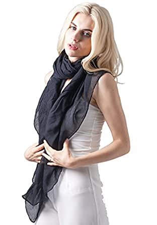 MissShorthair Womens Long Scarf in Solid Color Large Sheer Shawl Wraps for Evening(Black)