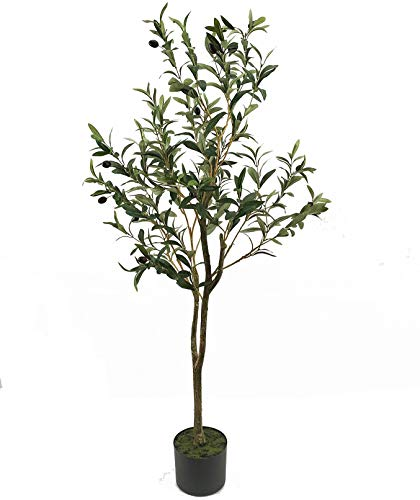 UNIQUE FOREST ARTS 4-Feet Olive Silk Tree,Artificial Silk Plant,Artificial Tree Green (4 Feet Olive Silk Tree) (4' Olive)
