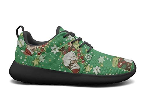 FEWW11 Women Fashion Lightweight Shoes Sneakers Merry Christmas Jolly Santas-01 Cozy Sport Lace-Up