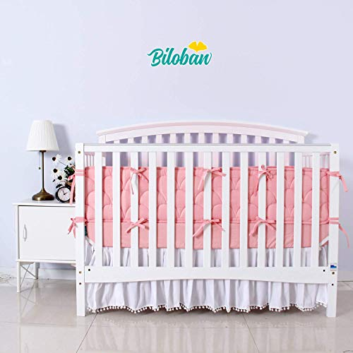 Biloban Pink Crib Skirt Pleated with White Lovely Pompoms Bedding Dust Ruffle for Baby Girls Fit All Standard Crib Bed Fade Resistant Microfiber 14 Drop