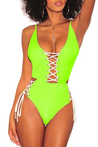 (QINSEN Women's Sexy V Neck Lace Up Cutout High Waisted One Piece Monokini Swimsuit (S, Lemon Green))