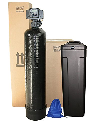 ABCwaters Built Fleck 5600sxt 48,000 Black SPACE SAVER Water Softener w/UPGRADED 10% Resin + Hardness Test + Install Kit