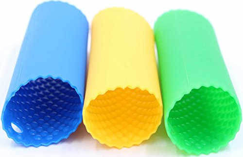 Garlic Peeler Silicone Tube Roller - LeBeila soft Chef Garlic Peelers Set Of 3 Easy Press Roll & manual Remove Peel From Garlic In Seconds, Useful Practical silicon Kitchen Tools (Blue/Green/Yellow)