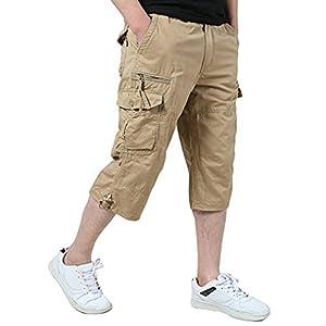 Amoystyle Men's Elastic Waist Relaxed Fit Long Cargo Shorts Capri Pants