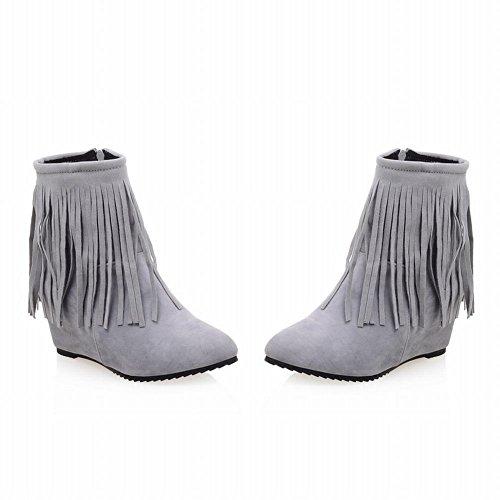 Carolbar Womens Fashion Pekade Tå Chic Dragkedja Tofsar Kilklack Klänning Boots Grå