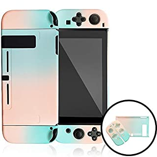 Dockable Case Compatible with Nintendo Switch,Protective Cover Case Compatible with Nintendo Switch and Joy-Con Controllers(Pink and Green)