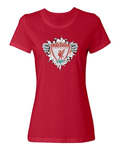 (SMARTZONE Liverpool Football Club Super Hero Soccer Women's Ladies Crewneck T-Shirt (Red, Adult Small) )