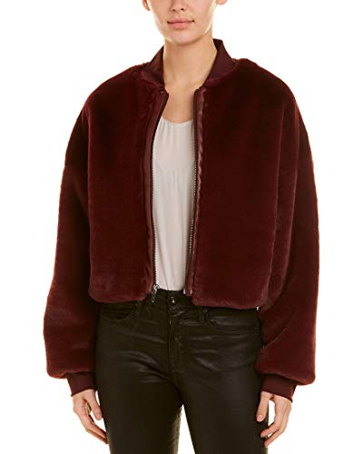 Nicole Miller Womens Artelier Leather-Trim Jacket, S Wine