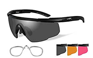 Wiley X Sabre Advanced Sunglasses Smoke Grey/Matte Black Rx Insert 309Rx by Wiley X